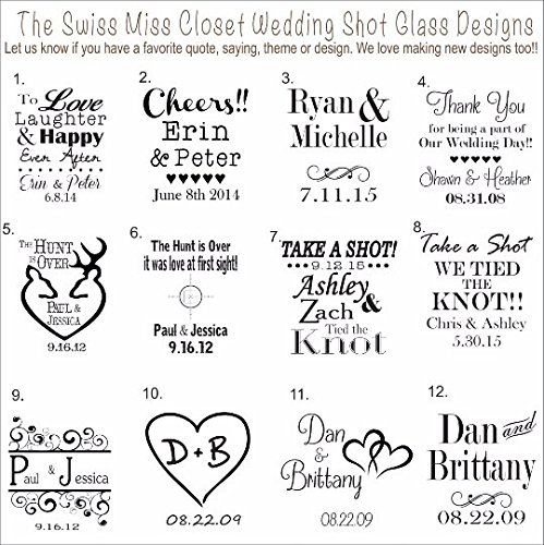 100 Custom Etched Mini Mason Jar Shot Glass Personalized Wedding Favor Groom's Men Bride's Maid Gift by Swiss Miss Closet LLC
