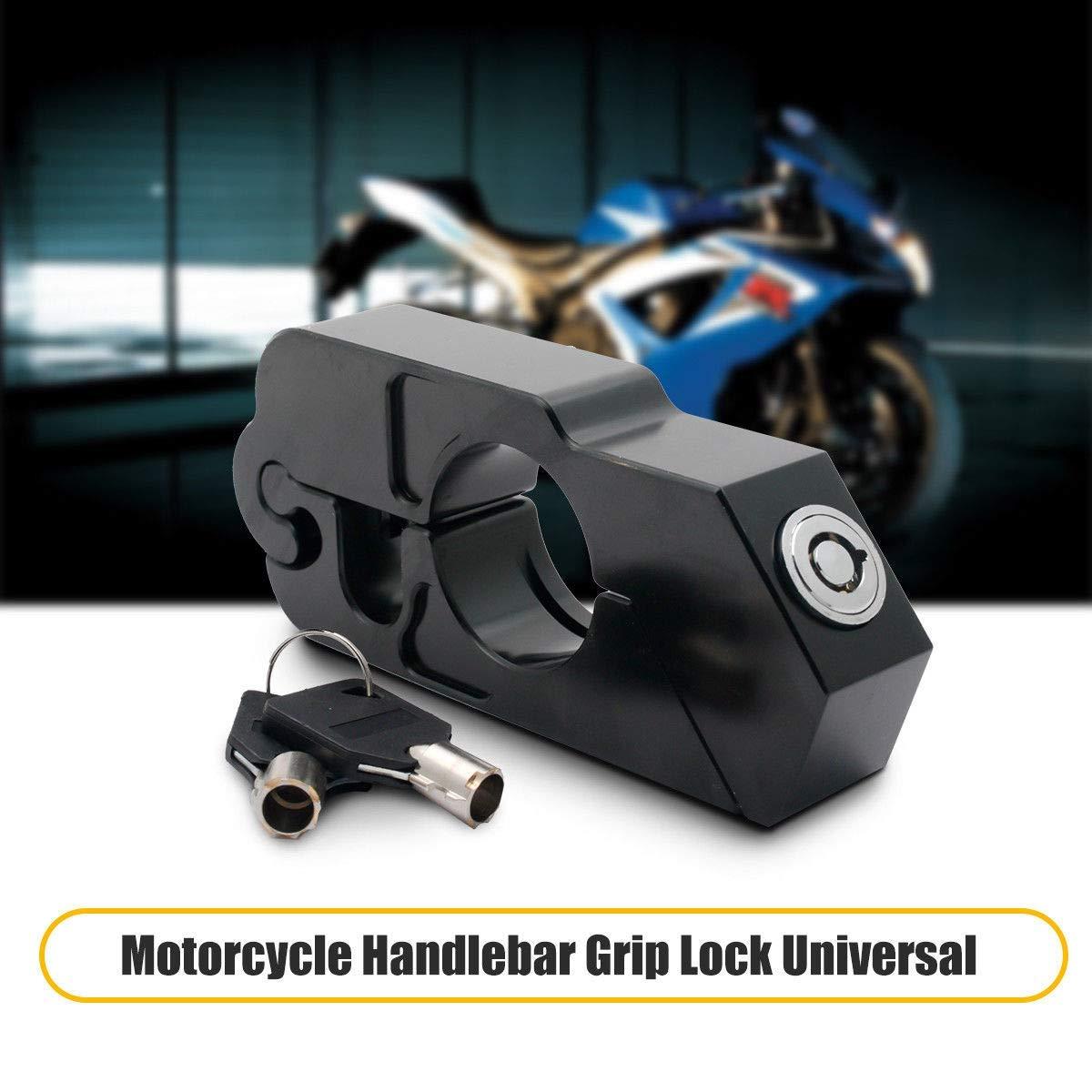Motorbike Handlebar Lock HugeAuto Motorbike Motorcycle Handlebar Throttle Grip Lock Aluminum Alloy Anti-theft Brake Level Lock for Bike Scooter Moped ATV Black