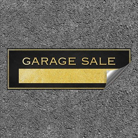 CGSignLab |''Garage Sale -Classic Gold'' Heavy-Duty Industrial Self-Adhesive Aluminum Wall Decal | 36''x12''