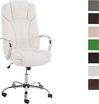 CLP XXL Bürostuhl Xanthos Mit Hochwertiger Polsterung Und Kunstlederbezug I Drehbarer Und Höhenverstellbarer Chefsessel, Farbe:weiß