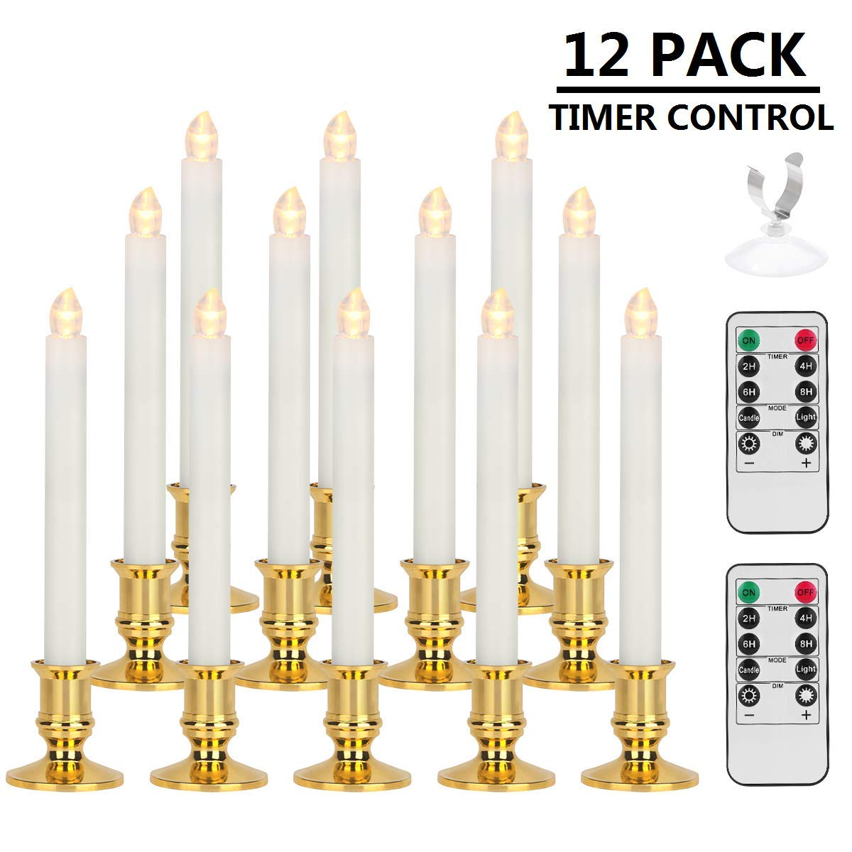 Window Candles, MAOYUE 12 Pack LED Candles with Timer Christmas Flameless Candles Battery Operated Flickering Candles with 2 Remote Controls, Gold Candle Holders, Suction Cups by MAOYUE