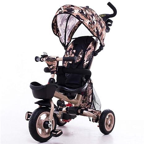 TH Triciclo Carro De Bebe Triciclo Baby 4 In1 con Barra De Empuje Extraíble Asiento Giratorio