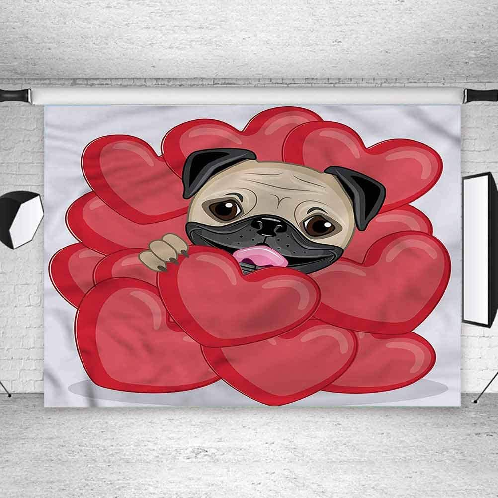 5x5FT Vinyl Wall Photography Backdrop,Pug,Valentines Inspired Dog Background for Baby Birthday Party Wedding Studio Props Photography