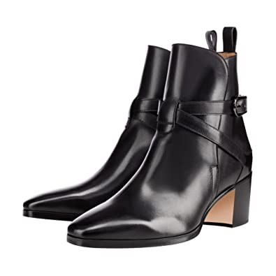 e0496cd19c6e XYD Women Pointed Toe Ankle Booties Retro Block Low Heel Boots Patent Dress  Shoes with Buckles