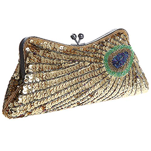 Peacock Lock Bag Clutch Clutch Gold Fawziya Kiss Sequin Purse qCq1X