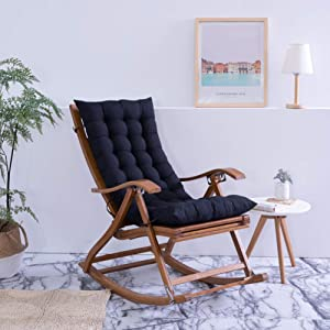 YEARLY Rocking Chair Cushions, Indoor Outdoor Bench Cushion Solid Color Lounge Chaise Overstuffed Garden Chair Cushions with Ties-Black 48x120cm(19x47inch)