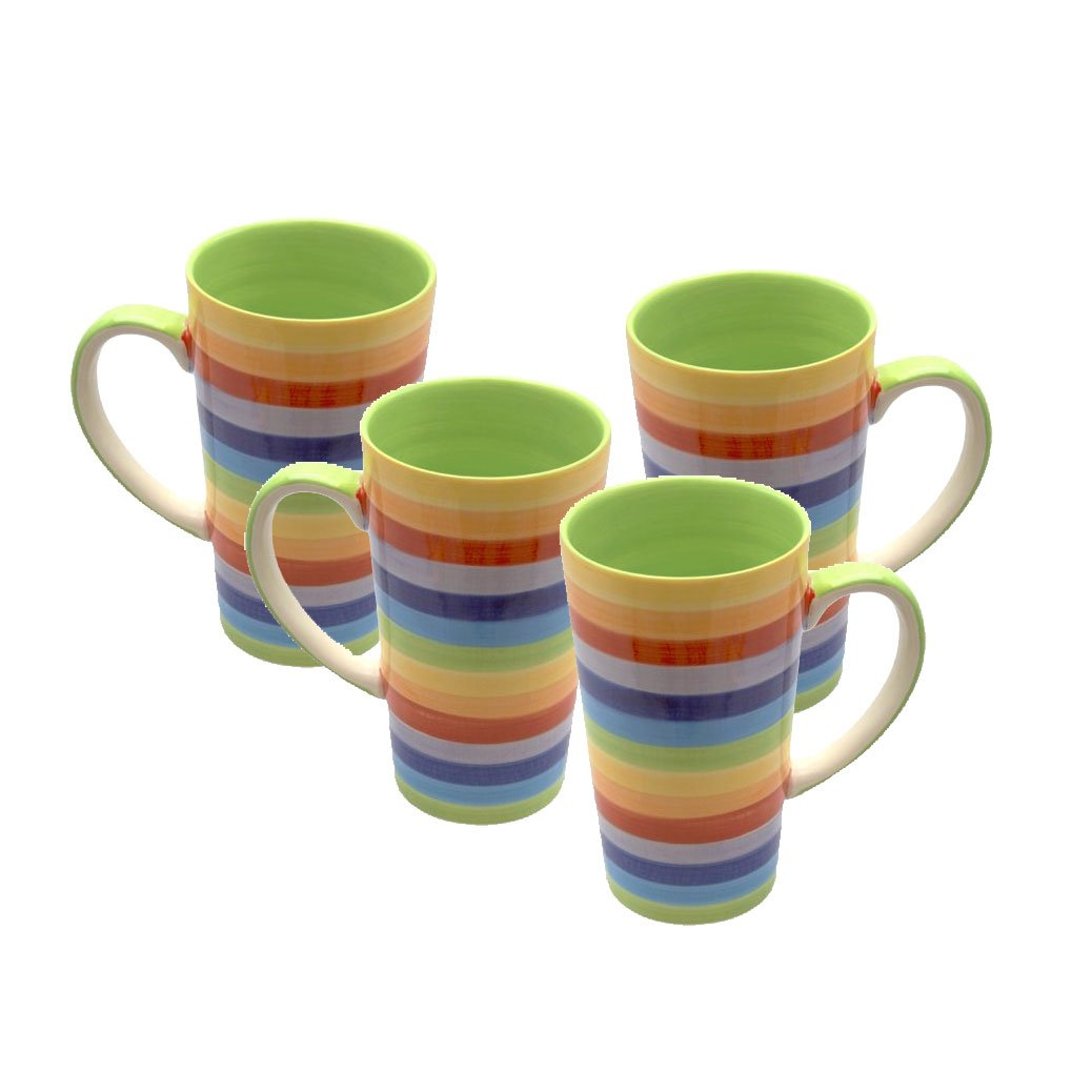 Stripey Rainbow Large Ceramic Hot Chocolate Tea Coffee Mug by Carousel Home