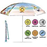 Perletti Kinder Ich Einfach Unverbesserlich Sonnenschirm für Strand, Garten, Meer und Terrasse - Windfest für Jungen mit Minion Bob - Durchmesser 125 cm - Hellblau - UV Schutz 50+