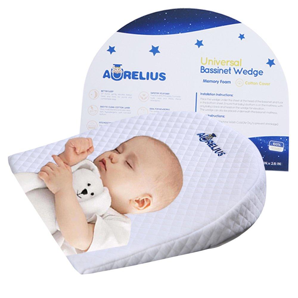 d0e338e4e6 Aurelius Baby Sleep Pillow cuscino a cuneo di reflusso 12 gradi  inclinazione Anti-Reflux Colic Congestion Per Universal Bassinet /  Carrozzina / Moses Basket ...