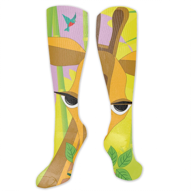Digital Paintings Giraffe With Branch Long Socks Unisex Football Socks