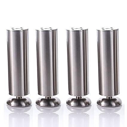 Qrity 4x 150mm Height Cabinet Stainless Steel Legs Kitchen Feet Worktop Tv Desk Table Legs Furniture Sofa Legs Rubber Mat Safe Silent Dia