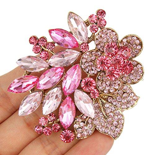EVER FAITH® Cristal Autrichien Bouquet des Fleurs Feuilles Broche Plaqué Or Rose N05845-6