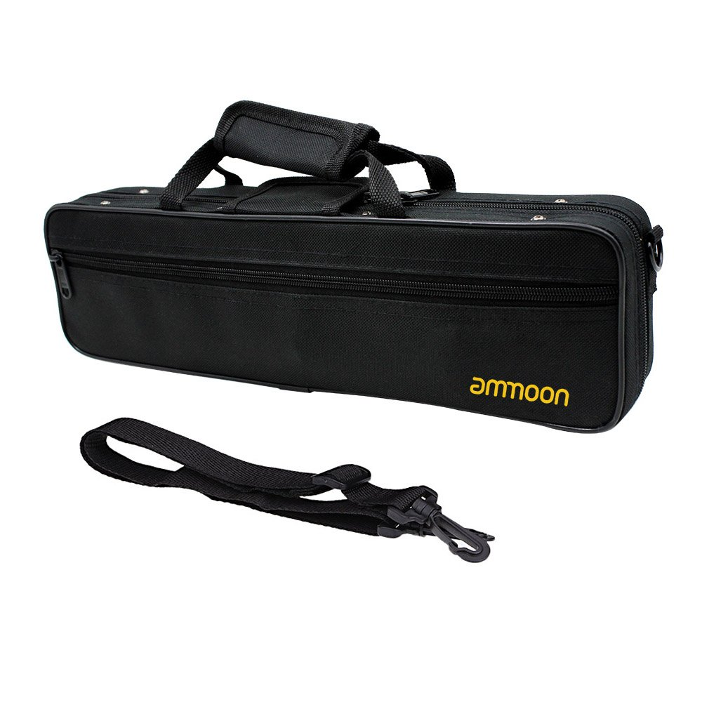 ammoon Flute Case Gig Bag Backpack Box Water-resistant 600D Foam Cotton Padding with Adjustable Single Shoulder Strap 4518I6