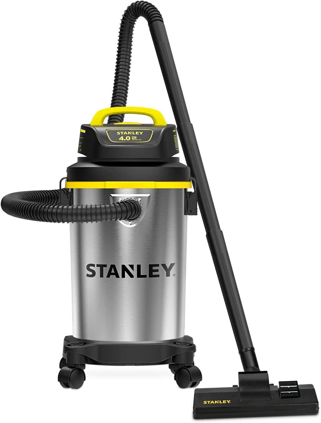 Stanley 4 Gallon Wet Dry Vacuum , 4 Peak HP Stainless Steel Portable Shop Vac, Multifunctional Shop Vacuum W/ 4 Horsepower Motor for Job Site,Garage,Basement,Van,Workshop: Home Improvement