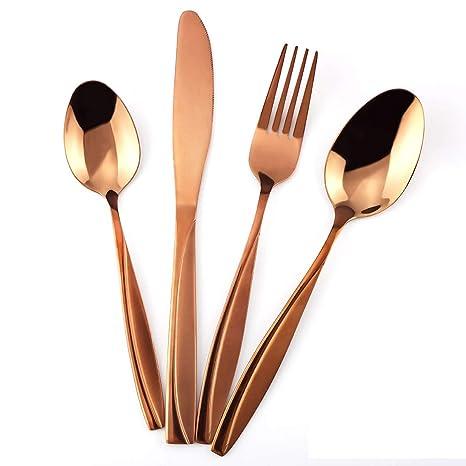 amazon com mdealy 24 piece cooper silverware kitchen utensils set rh amazon com top quality kitchen utensils high quality kitchen utensils uk