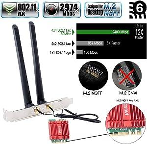 fenvi Dual Band AX WiFi Card AX200 Mini Desktop Wi-Fi 6 AX Wireless WiFi 6 2x2 MIMO NGFF M.2 2230 WiFi Card only for m.2 Desktop 2.4Ghz/5Ghz 160Mhz BT 5.0 3000Mbps Wi-Fi Miracast vPro