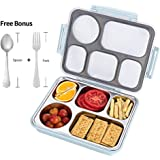 FIRST-MALL Leak-Proof Bento Style Lunch Box - Stainless Steel Versatile 4 Compartment Food Containers - On-The-Go Meal and Snack - BPA-Free and Food-Safe Materials, Ideal for Adults &Teenagers (BLUE)