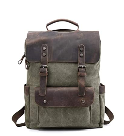 """3a8f79a3416 AINiubia Mens Europe Canvas Leather Backpacks 14"""" Laptop Daypacks  Waterproof Large Waxed Travel Back Packs"""