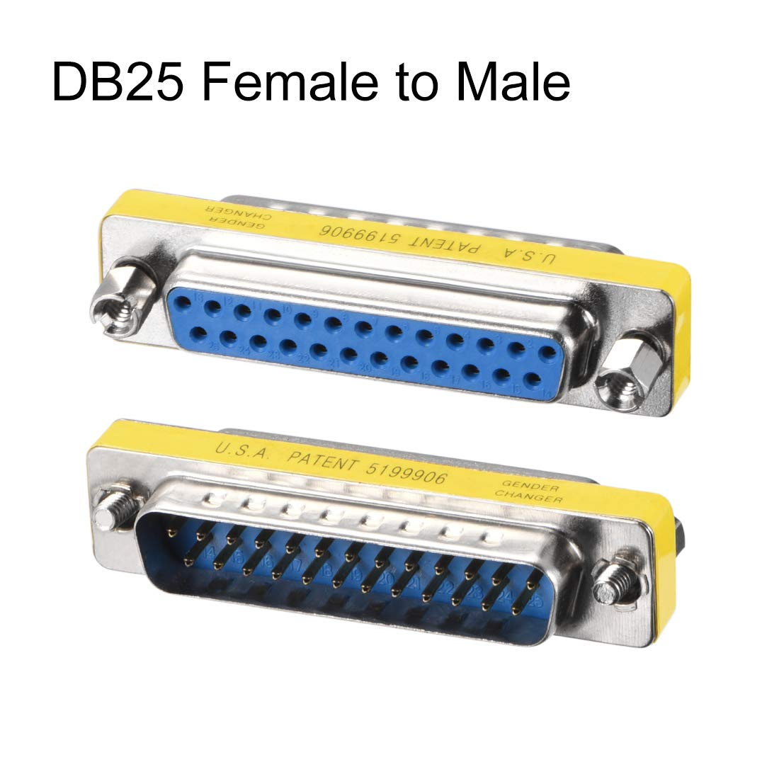 uxcell DB25 VGA Gender Changer 25 Pin Female to Male 2-row Mini Gender Changer Coupler Adapter Connector for Serial Applications Blue Pack of 10