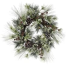"Frosted Mixed Pine Wreath W/Battery Operated LED Lights 26""-"