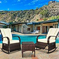 SCYL Color Your Life Indoor & Outdoor PE Wicker Rocking Chair Porch Garden Lawn Deck Auto Adjustable Rattan Reclining chiar Patio Furniture w/Water-Proof Cushion and Coffee Table