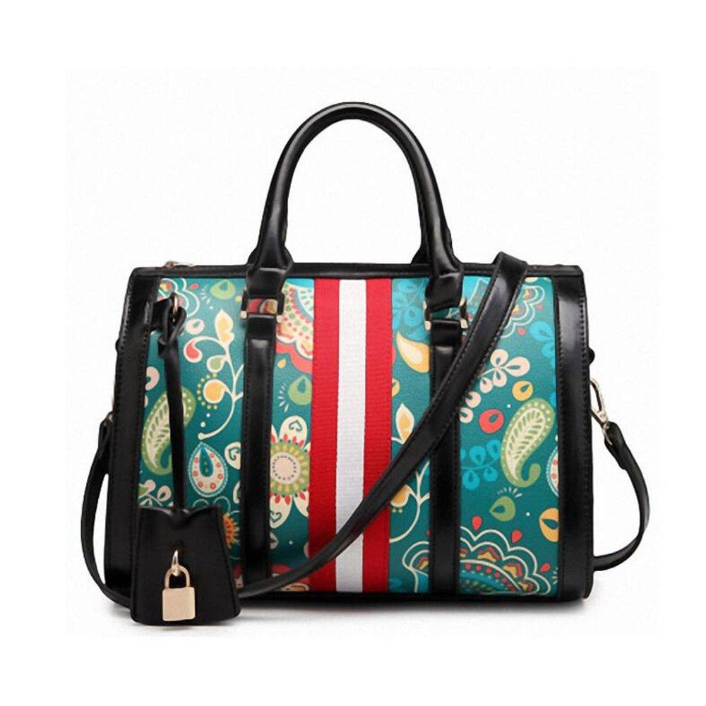JIANFCR Damen Handtaschen, Sommer Kissen Tasche Vintage Floral Big Bag Arbeit/Casual Boston Bag Printed Taschen Workplace Bankett Taschen