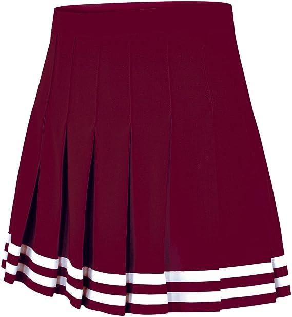 Falda plisada de doble punto para uniforme de animadora - Rojo ...