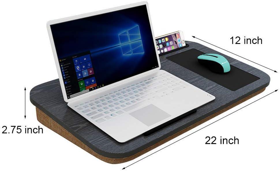 Home BI Lap - Escritorio para ordenador portátil con alfombrilla de ratón y soporte para tableta de teléfono móvil, se adapta a portátiles de hasta 15 ...