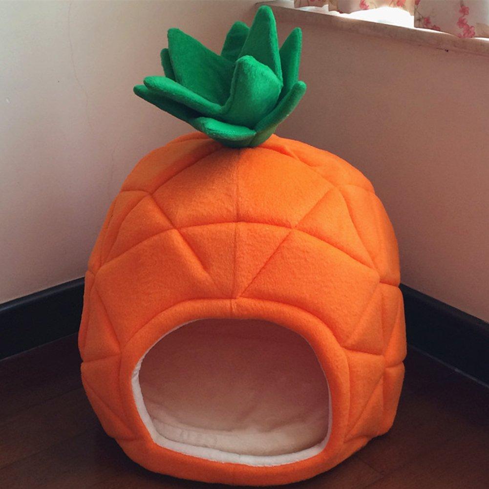 Wkm Super Soft Pineapple Creative Pet Bed Kitten And Puppy Short Plus Rimovibile arancia 43  43  50 CM