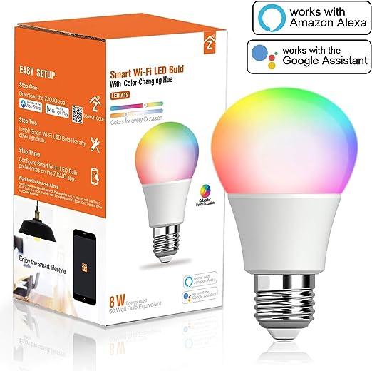 Bombilla inteligente, RGBCW WiFi LED Bombilla A19 [8W 810LM] Intensidad regulable luces multicolor, no requiere buje, compatible con Alexa y Google Home: Amazon.es: Iluminación