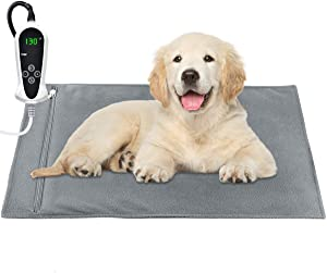 "RIOGOO Pet Heating Pad, Upgraded Electric Dog Cat Heating Pad Indoor Waterproof, Auto Power Off (Large: 22""x 18"")"