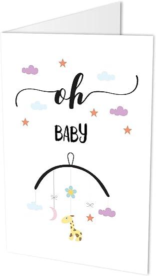 Grande Carte De Felicitations Pour La Naissance D Un Bebe Avec Inscription En Anglais Oh Baby Carte Pliante Au Format A4 Avec Enveloppe Amazon Fr Fournitures De Bureau