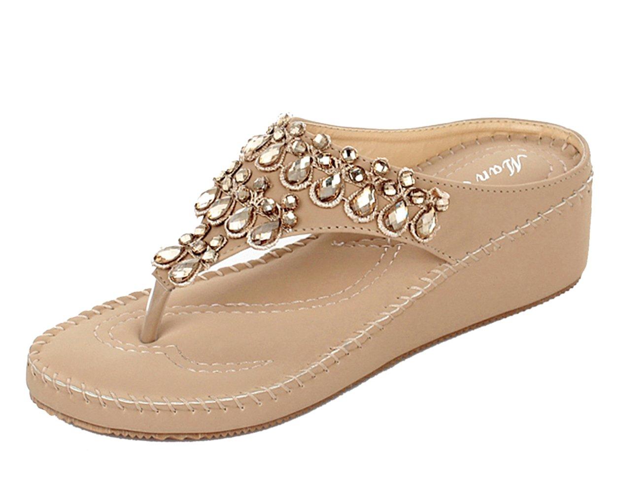 DQQ Damen Tanga Strass Stich Keil Sandale, Blau - 3 - Größe: 39