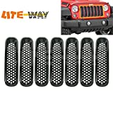 LITE-WAY Jeep Wranlger JK Front Grill Mesh Grille Inserts Kit Black ABS Fit For Jeep Wrangler Rubicon Sahara Jk 2007-2016 Model, 7 Pieces/set