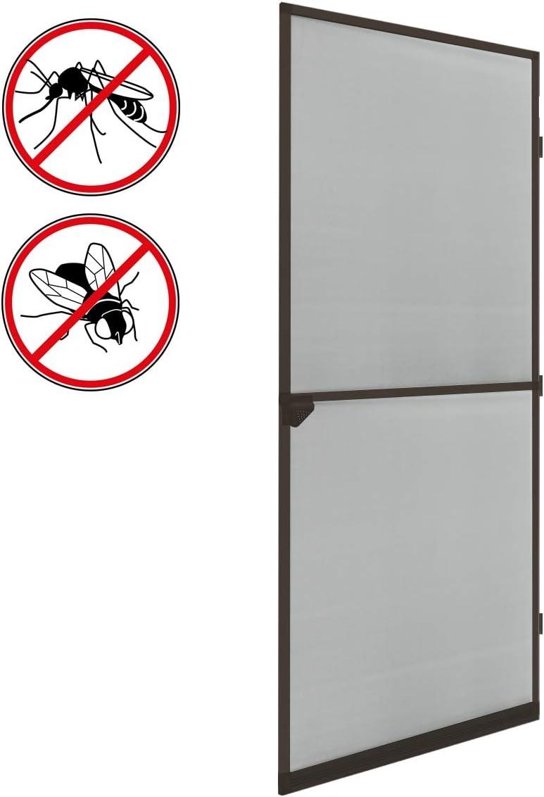 ECD Germany Mosquitera con Marco de Aluminio - 100x220 - Blanco/marrón -mosquitera Impermeable de Fibra de Vidrio para Puerta - para Cualquier tamaño de Puerta o Ventana
