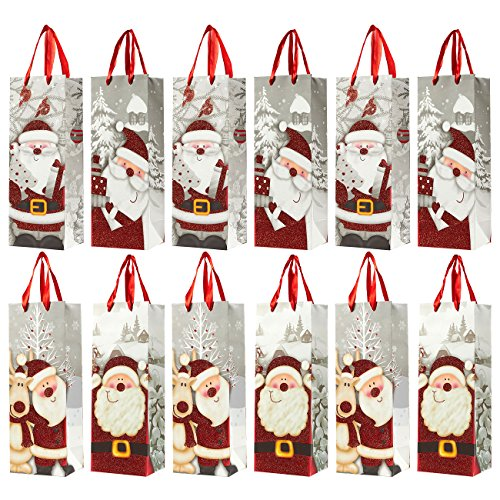 12-Pack Christmas Gift Wine Bags - Santa Claus-Themed Paper Bags with Satin Handles for Shopping, Alcohol Christmas Gifts, 4 Assorted Designs - 4 x 5 x 13.5 Inches