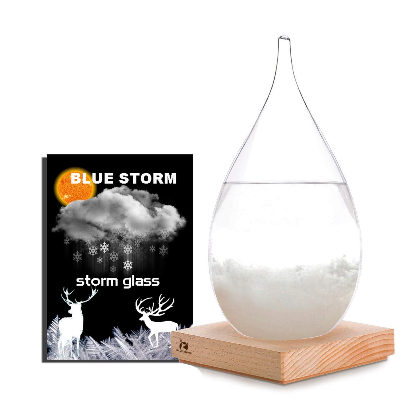BLUESTORM Storm Glass Weather Predictor Storm Glass Barometer Forecaster Creative Crystal Glass Decorative Bottles Desktop Drops Craft Weather Station Barometer Scientific Gift (Large)