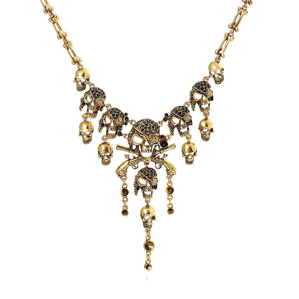 Cos2be Skeleton Skull Necklace Vintage Statement Necklace (Skull Ⅱ-Ancient Gold)
