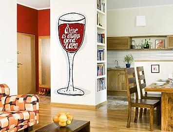 Wandtattoo Küche Weinglas in rot mit Schriftzug Wandsticker ...