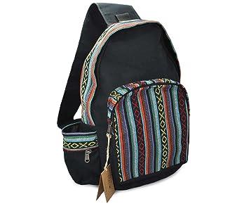 7540410885 Mato Boho Sling Bag Backpack Bohemian Tribal Aztec Woven Baja Pattern One Shoulder  Daypack Black