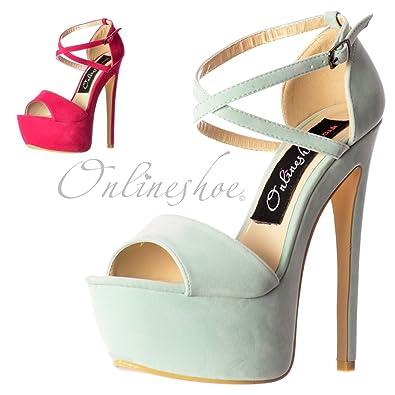 000ff7ed6d61 Onlineshoe Women s Ladies Strappy Cross Over Pastel Stiletto Platform High  Heel Party Shoes - Mint Suede