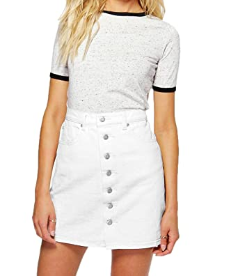 b39b98cde316 Women's Denim Jean Mini Skirt A Line with 7 Front Buttons White at ...
