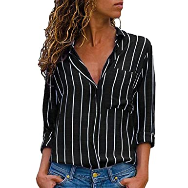 8bbbba64a41c Clearance Women Button Down Shirt - vermers Womens Casual Long Sleeve  Striped Printed Blouse Tops(