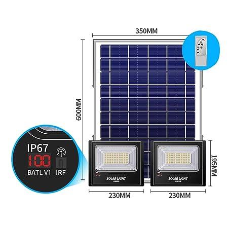 XEX Exterior Proyector LED Solar, Luz Solar Impermeable IP67 ...
