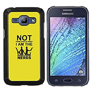 """Be-Star Único Patrón Plástico Duro Fundas Cover Cubre Hard Case Cover Para Samsung Galaxy J1 / J100 ( Rey de los empollones - Funny Tipografía"""" )"""