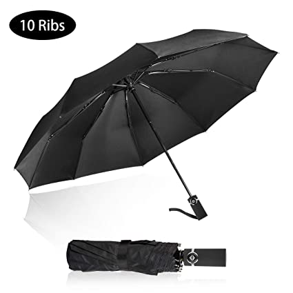 fcfb290efd05 Folding Umbrella Windproof, Compact Auto Travel Umbrella, Sturdy Dome Rain  Umbrella with UV Protection(10 Ribs)