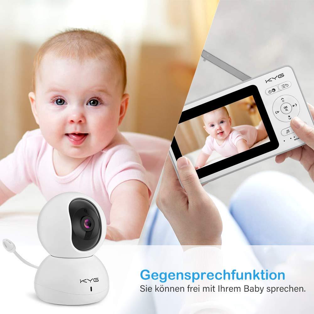 Babyphone mit Kamera KYG Video babyphone 4,3 Zoll Smart Baby Monitor mit TFT LCD Bildschirm Nachtsichtkamera und Temperatur/überwachung