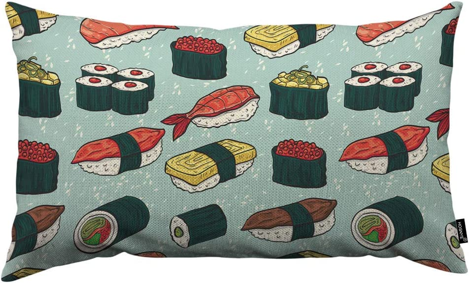 HOSNYE Colorful Sushi Throw Pillow Cover Different Types of Japanese Food Sushi and Rolls Linen Fabric for Couch Bed Sofa Car Waist Cushion Cover 12 x 20 inch Pillow Case
