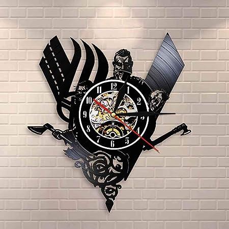 BFMBCHDJ Reloj de Pared de Registro de Vinilo Medieval Vikingo ...