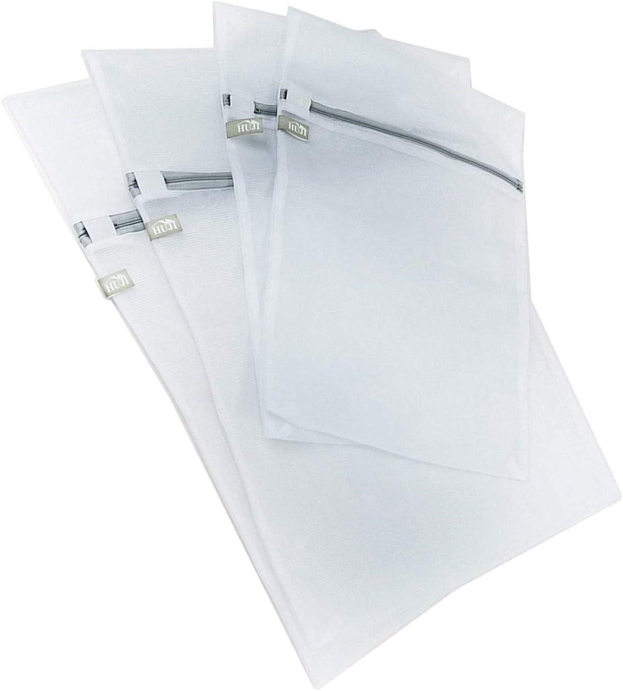 Huji 4 Pack Micro Mesh Laundry Bags Lingerie Bra Underwear with Secure Zipper (2 Medium & 2 Large)
